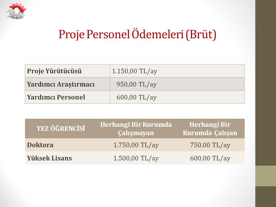 Proje Personel Ödemeleri (Brüt) Proje Yürütücüsü1.150,00 TL/ay Yardımcı Araştırmacı 950,00 TL/ay Yardımcı Personel 600,00 TL/ay TEZ ÖĞRENCİSİ Herhangi