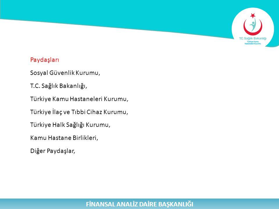 Paydaşları Sosyal Güvenlik Kurumu, T.C. Sağlık Bakanlığı, Türkiye Kamu Hastaneleri Kurumu, Türkiye İlaç ve Tıbbi Cihaz Kurumu, Türkiye Halk Sağlığı Ku