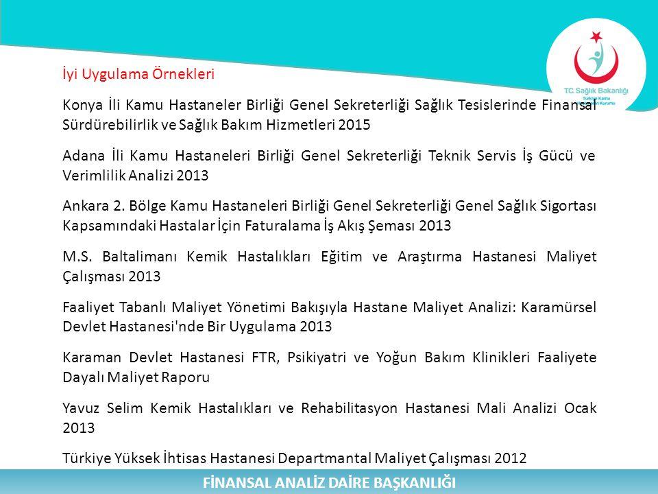 FİNANSAL ANALİZ DAİRE BAŞKANLIĞI İyi Uygulama Örnekleri Konya İli Kamu Hastaneler Birliği Genel Sekreterliği Sağlık Tesislerinde Finansal Sürdürebilirlik ve Sağlık Bakım Hizmetleri 2015 Adana İli Kamu Hastaneleri Birliği Genel Sekreterliği Teknik Servis İş Gücü ve Verimlilik Analizi 2013 Ankara 2.