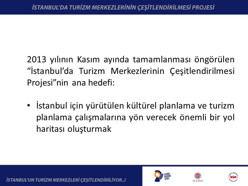 2013 yılının Kasım ayında tamamlanması öngörülen İstanbul'da Turizm Merkezlerinin Çeşitlendirilmesi Projesi nin ana hedefi: İstanbul için yürütülen kültürel planlama ve turizm planlama çalışmalarına yön verecek önemli bir yol haritası oluşturmak