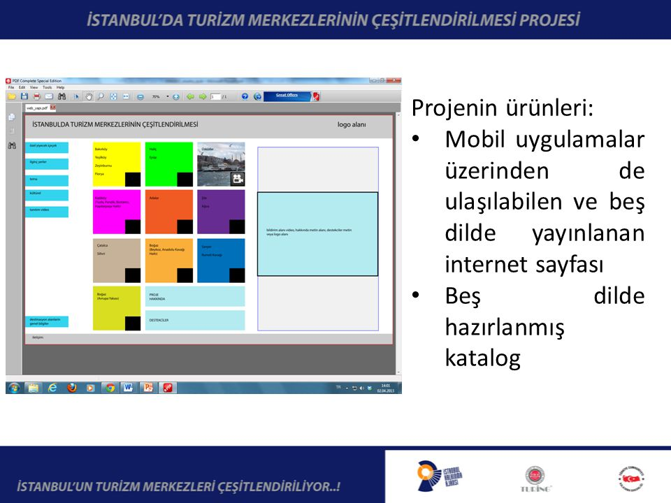 Projenin ürünleri: Mobil uygulamalar üzerinden de ulaşılabilen ve beş dilde yayınlanan internet sayfası Beş dilde hazırlanmış katalog