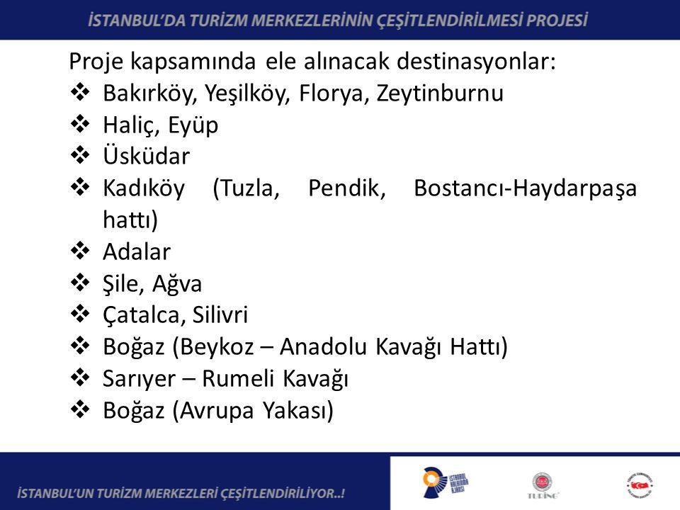 Proje kapsamında ele alınacak destinasyonlar:  Bakırköy, Yeşilköy, Florya, Zeytinburnu  Haliç, Eyüp  Üsküdar  Kadıköy (Tuzla, Pendik, Bostancı-Haydarpaşa hattı)  Adalar  Şile, Ağva  Çatalca, Silivri  Boğaz (Beykoz – Anadolu Kavağı Hattı)  Sarıyer – Rumeli Kavağı  Boğaz (Avrupa Yakası)