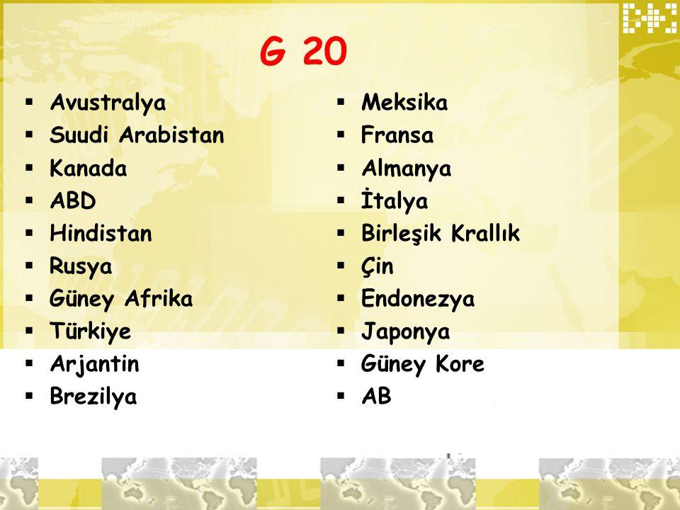 G 20  Avustralya  Suudi Arabistan  Kanada  ABD  Hindistan  Rusya  Güney Afrika  Türkiye  Arjantin  Brezilya  Meksika  Fransa  Almanya  İ