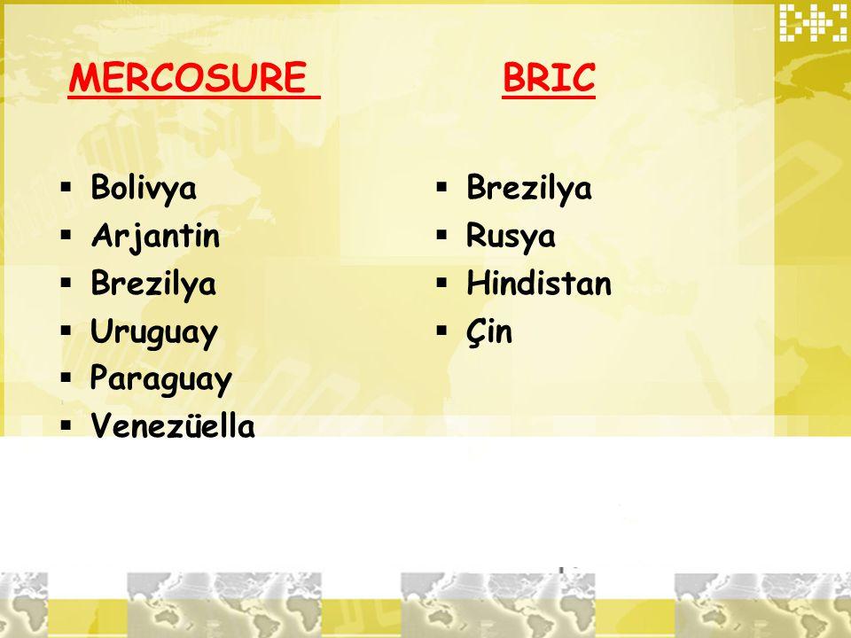 MERCOSURE BRIC  Bolivya  Arjantin  Brezilya  Uruguay  Paraguay  Venezüella  Brezilya  Rusya  Hindistan  Çin