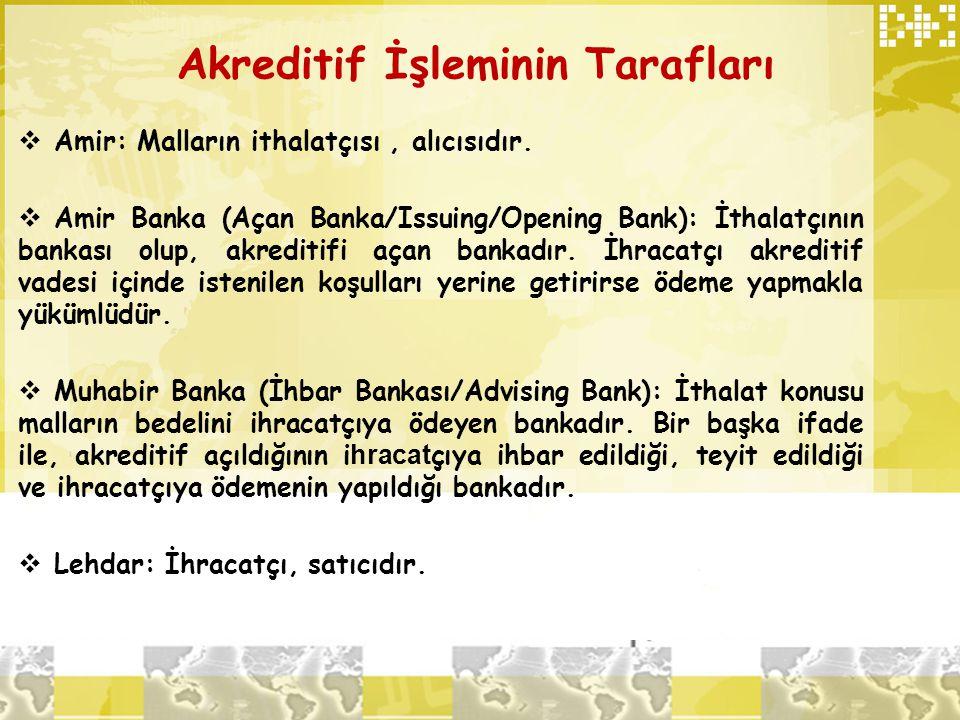 Akreditif İşleminin Tarafları  Amir: Malların ithalatçısı, alıcısıdır.  Amir Banka (Açan Banka/Issuing/Opening Bank): İthalatçının bankası olup, akr