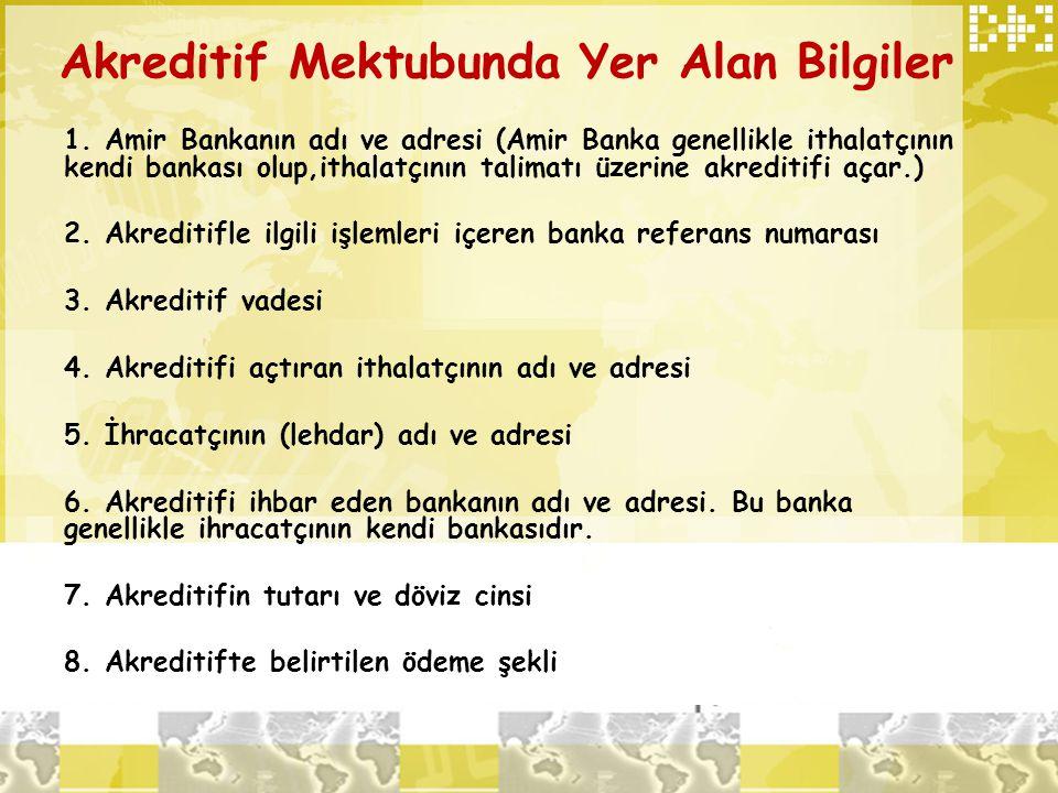 Akreditif Mektubunda Yer Alan Bilgiler 1. Amir Bankanın adı ve adresi (Amir Banka genellikle ithalatçının kendi bankası olup,ithalatçının talimatı üze
