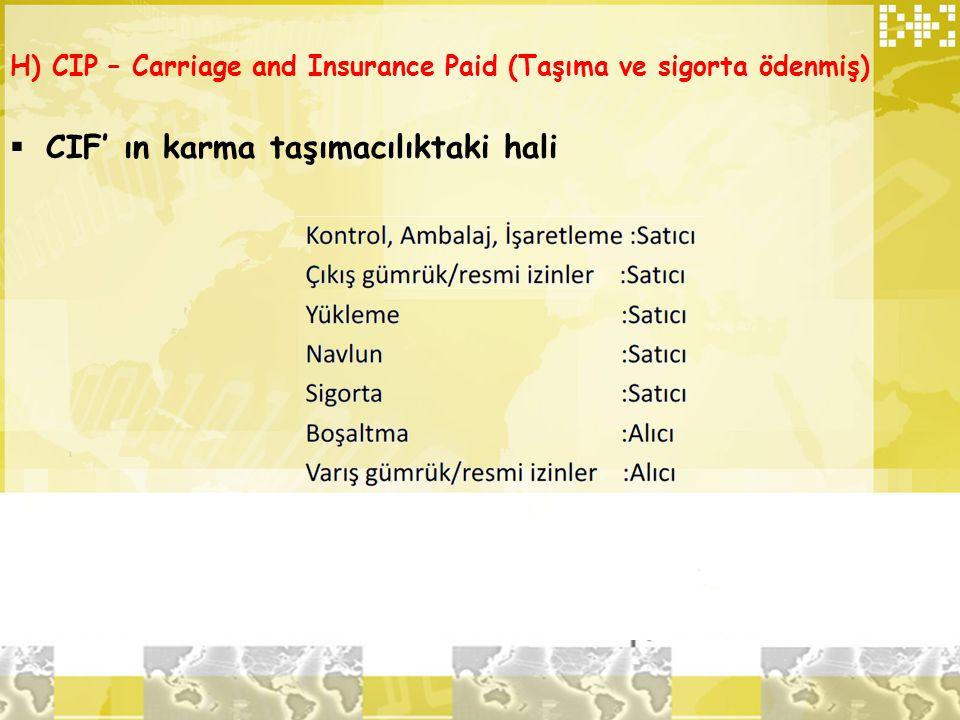 H) CIP – Carriage and Insurance Paid (Taşıma ve sigorta ödenmiş)  CIF' ın karma taşımacılıktaki hali