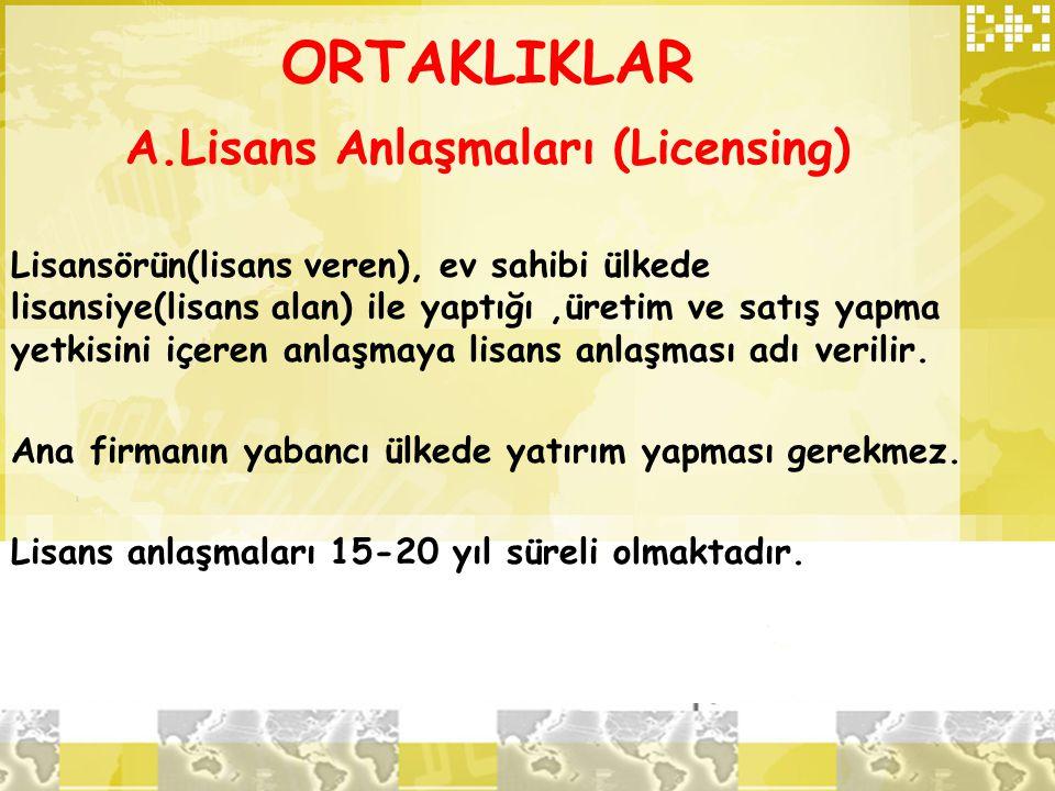 ORTAKLIKLAR A.Lisans Anlaşmaları (Licensing) Lisansörün(lisans veren), ev sahibi ülkede lisansiye(lisans alan) ile yaptığı,üretim ve satış yapma yetki