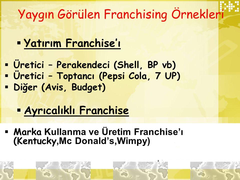 Yaygın Görülen Franchising Örnekleri  Yatırım Franchise'ı  Üretici – Perakendeci (Shell, BP vb)  Üretici – Toptancı (Pepsi Cola, 7 UP)  Diğer (Avi