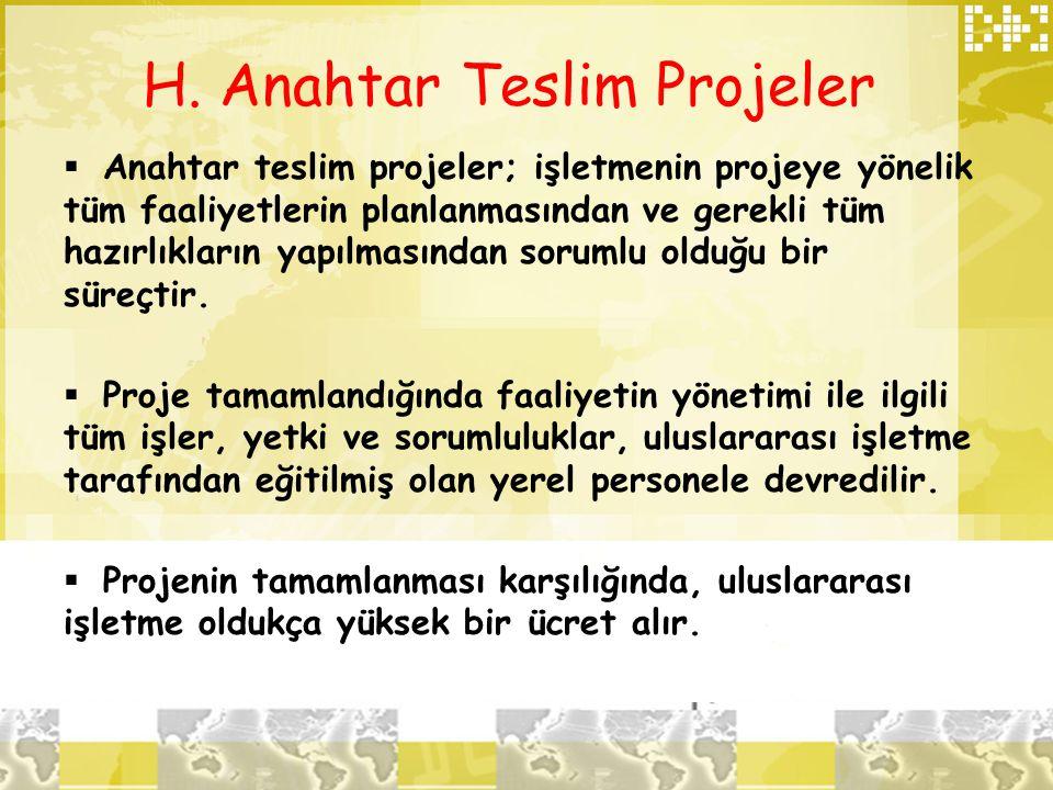 H. Anahtar Teslim Projeler  Anahtar teslim projeler; işletmenin projeye yönelik tüm faaliyetlerin planlanmasından ve gerekli tüm hazırlıkların yapılm