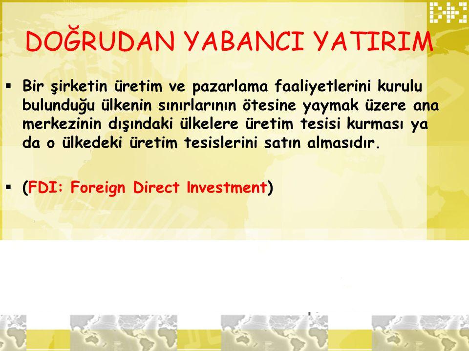 DOĞRUDAN YABANCI YATIRIM  Bir şirketin üretim ve pazarlama faaliyetlerini kurulu bulunduğu ülkenin sınırlarının ötesine yaymak üzere ana merkezinin d