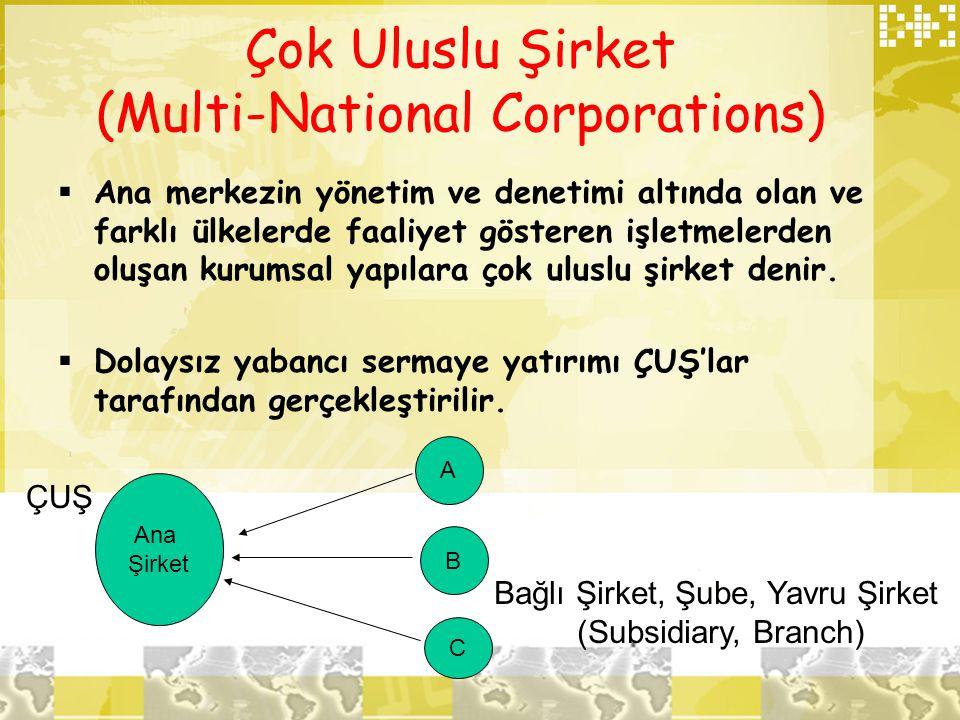 Çok Uluslu Şirket (Multi-National Corporations)  Ana merkezin yönetim ve denetimi altında olan ve farklı ülkelerde faaliyet gösteren işletmelerden ol