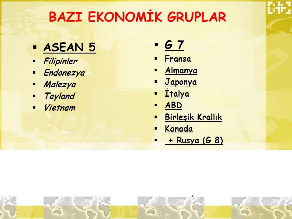 BAZI EKONOMİK GRUPLAR  ASEAN 5  Filipinler  Endonezya  Malezya  Tayland  Vietnam  G 7  Fransa  Almanya  Japonya  İtalya  ABD  Birleşik Kr