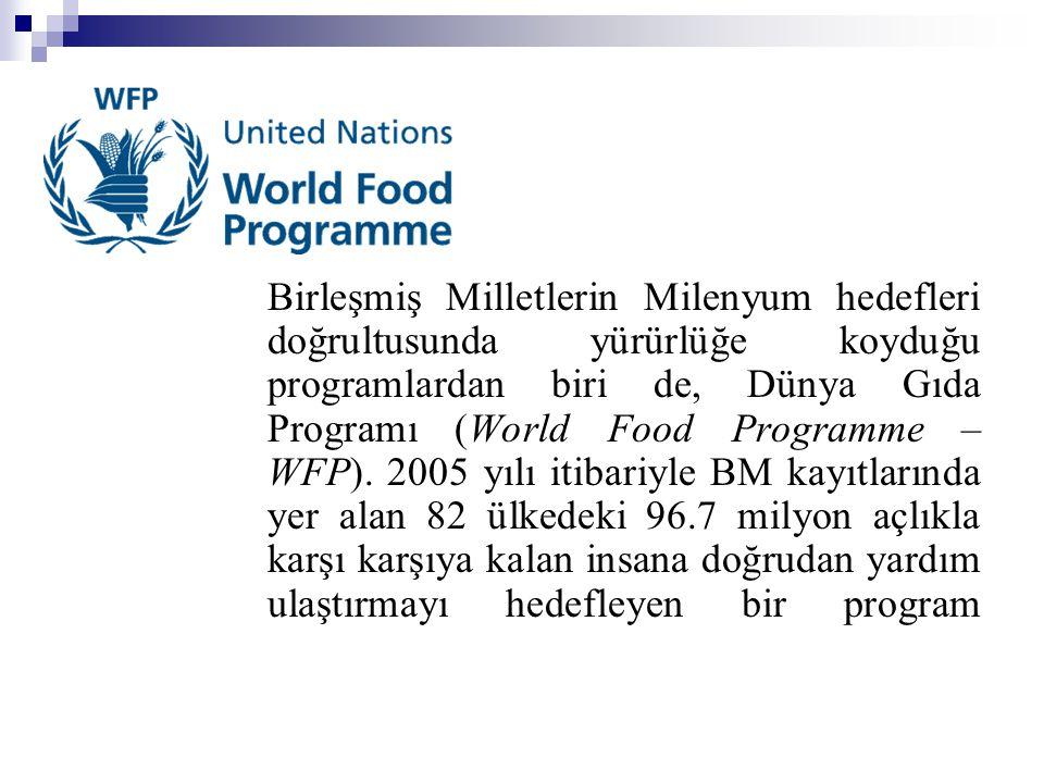 Birleşmiş Milletlerin Milenyum hedefleri doğrultusunda yürürlüğe koyduğu programlardan biri de, Dünya Gıda Programı (World Food Programme – WFP). 2005