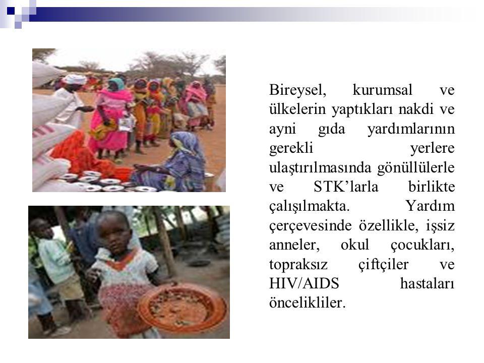 Bireysel, kurumsal ve ülkelerin yaptıkları nakdi ve ayni gıda yardımlarının gerekli yerlere ulaştırılmasında gönüllülerle ve STK'larla birlikte çalışı