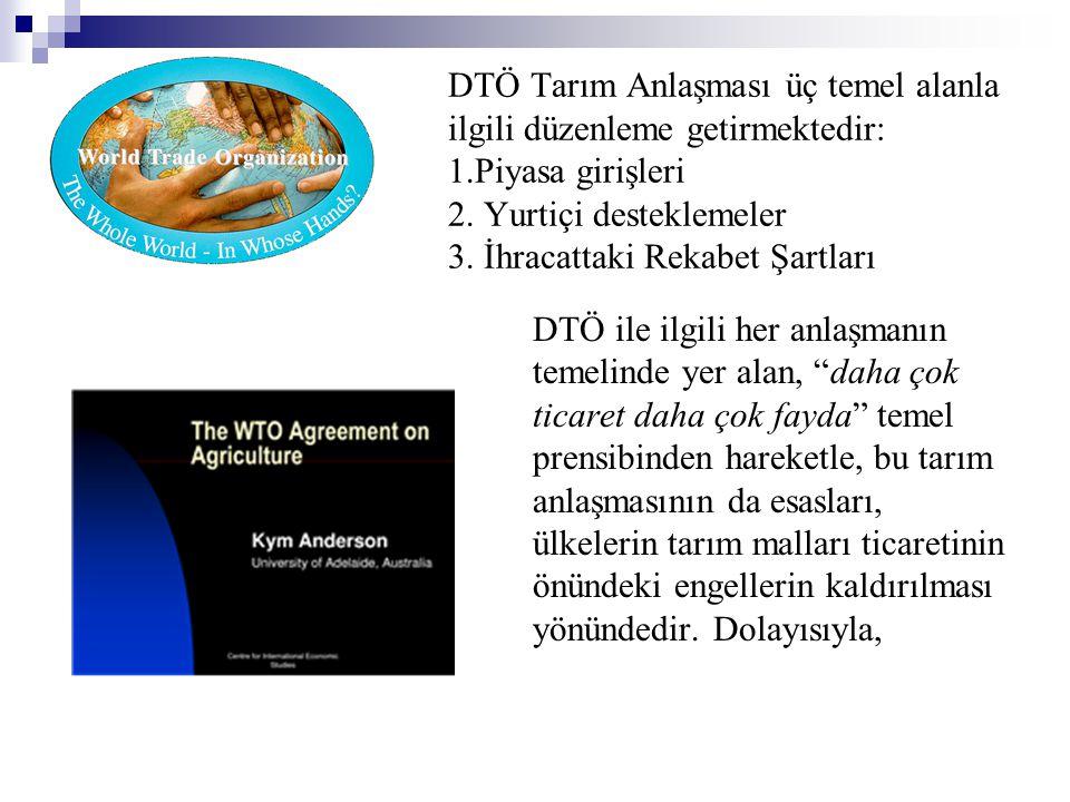 DTÖ Tarım Anlaşması üç temel alanla ilgili düzenleme getirmektedir: 1.Piyasa girişleri 2. Yurtiçi desteklemeler 3. İhracattaki Rekabet Şartları DTÖ il