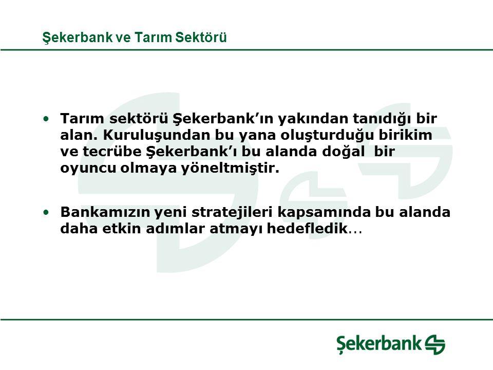 Şekerbank ve Tarım Sektörü Tarım sektörü Şekerbank'ın yakından tanıdığı bir alan.
