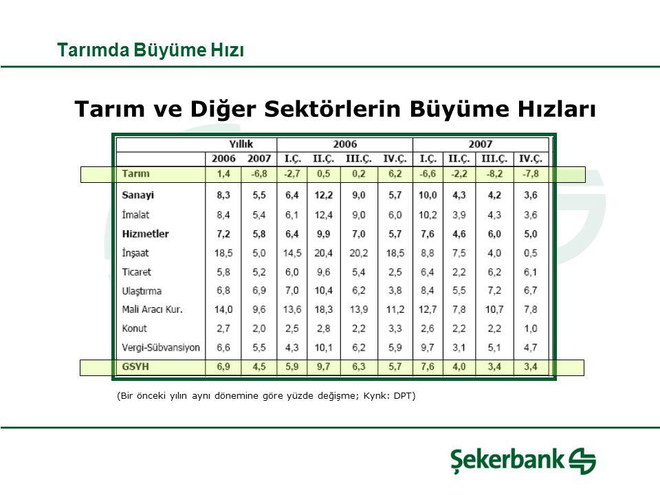 Tarımda Büyüme Hızı Tarım ve Diğer Sektörlerin Büyüme Hızları (Bir önceki yılın aynı dönemine göre yüzde değişme; Kynk: DPT)