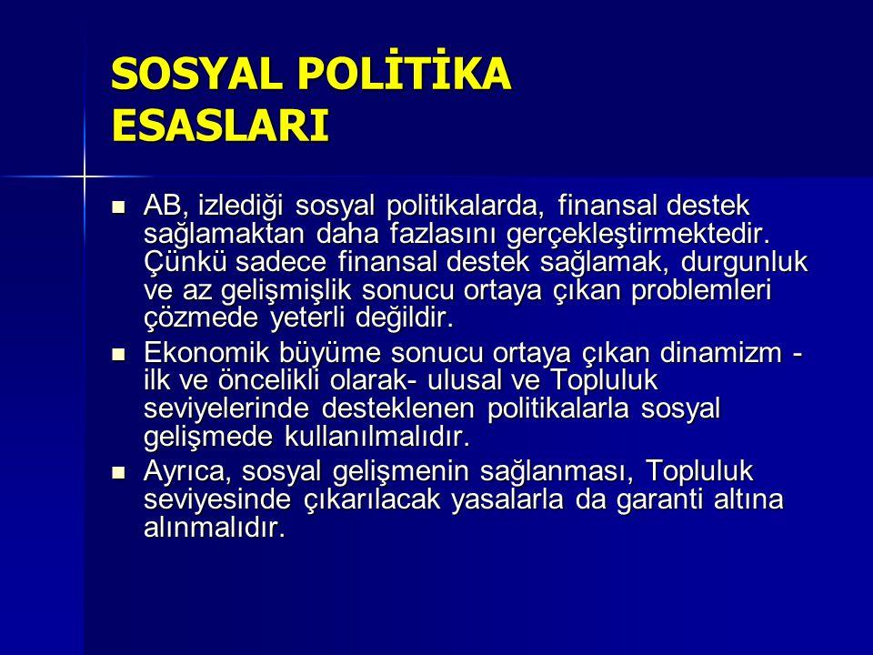SOSYAL POLİTİKA ALANLARI 1991 yılında Maastricht de üye devletler (İngiltere hariç, 1997) sosyal politikalarla ilgili bir protokol kabul etmiştir.