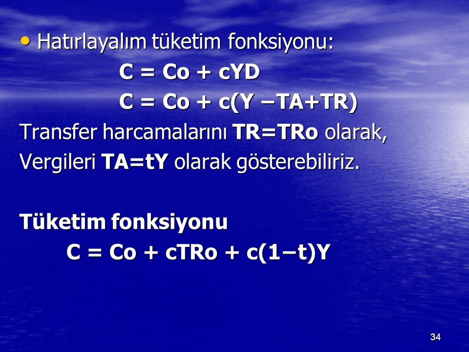 Hatırlayalım tüketim fonksiyonu: Hatırlayalım tüketim fonksiyonu: C = Co + cYD C = Co + cYD C = Co + c(Y −TA+TR) C = Co + c(Y −TA+TR) Transfer harcama