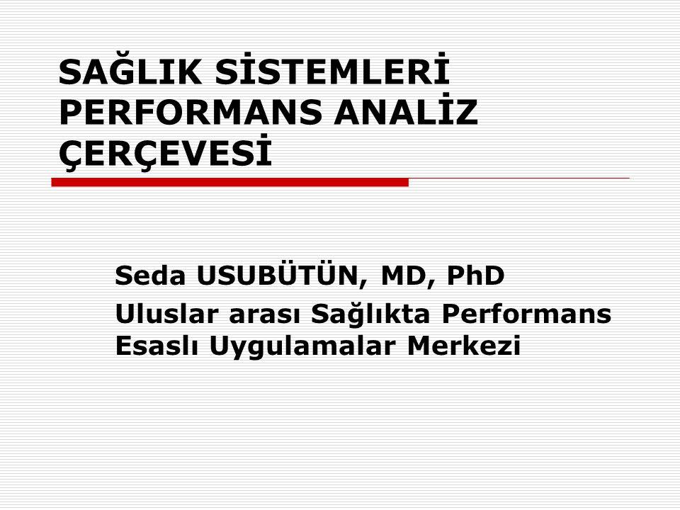 SAĞLIK SİSTEMLERİ PERFORMANS ANALİZ ÇERÇEVESİ Seda USUBÜTÜN, MD, PhD Uluslar arası Sağlıkta Performans Esaslı Uygulamalar Merkezi