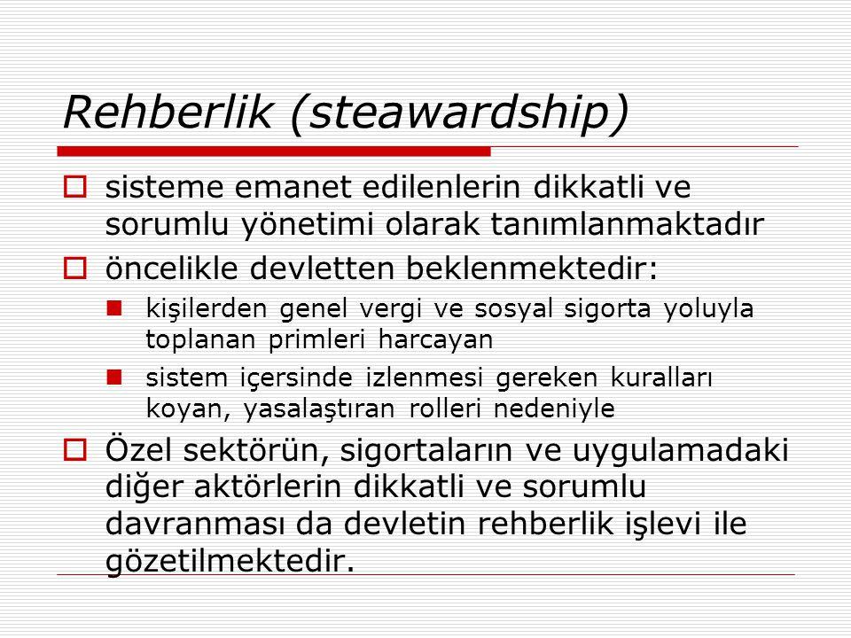 Rehberlik (steawardship)  sisteme emanet edilenlerin dikkatli ve sorumlu yönetimi olarak tanımlanmaktadır  öncelikle devletten beklenmektedir: kişil