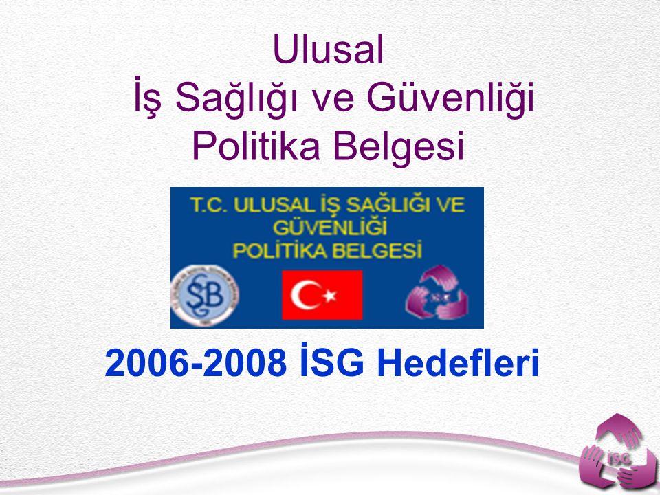Ulusal İş Sağlığı ve Güvenliği Politika Belgesi 2006-2008 İSG Hedefleri
