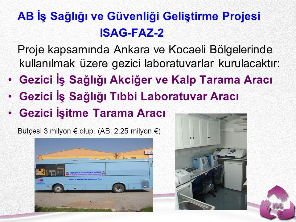 AB İş Sağlığı ve Güvenliği Geliştirme Projesi ISAG-FAZ-2 Proje kapsamında Ankara ve Kocaeli Bölgelerinde kullanılmak üzere gezici laboratuvarlar kurul