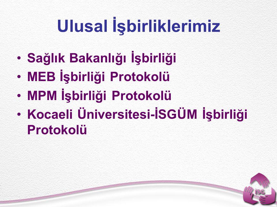 Ulusal İşbirliklerimiz Sağlık Bakanlığı İşbirliği MEB İşbirliği Protokolü MPM İşbirliği Protokolü Kocaeli Üniversitesi-İSGÜM İşbirliği Protokolü