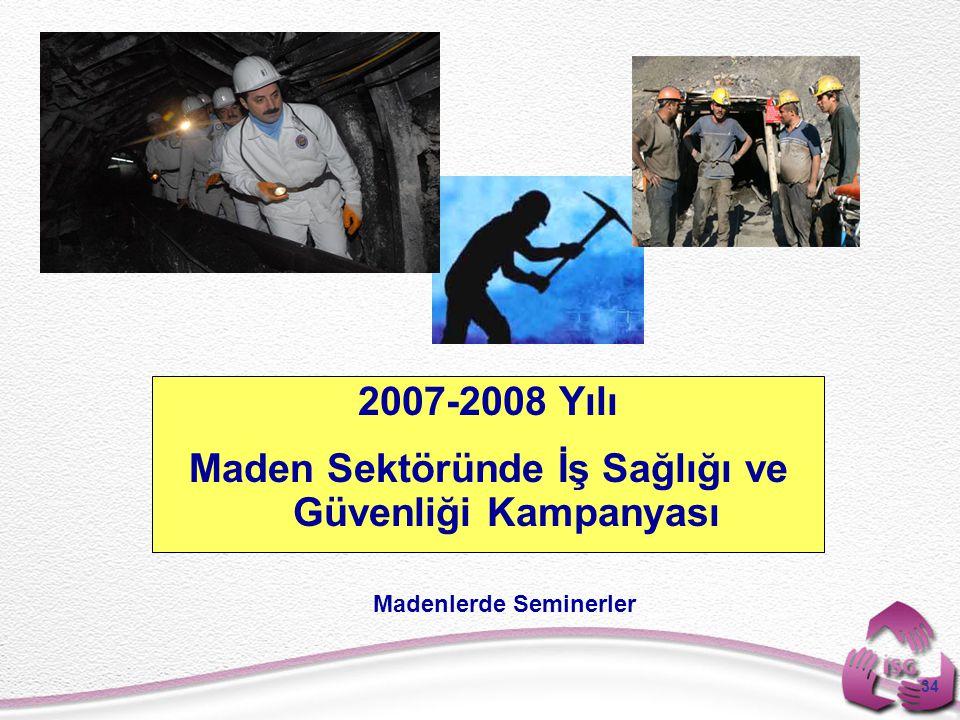 34 2007-2008 Yılı Maden Sektöründe İş Sağlığı ve Güvenliği Kampanyası Madenlerde Seminerler