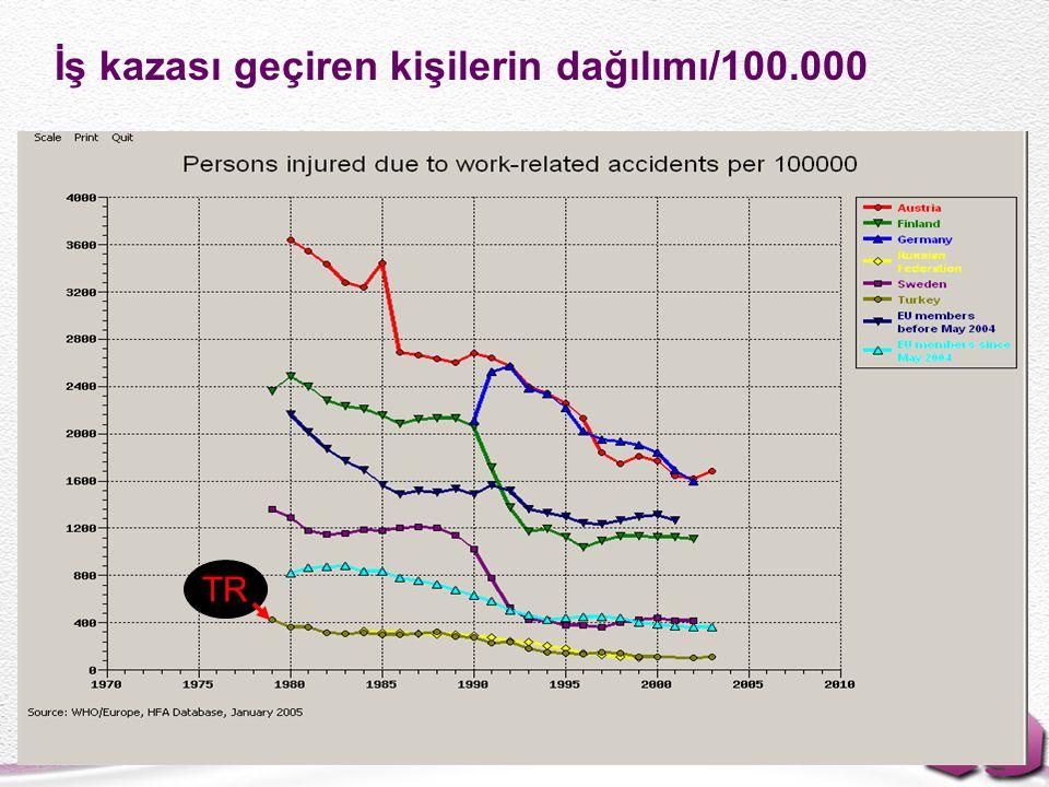 İş kazası geçiren kişilerin dağılımı/100.000 TR