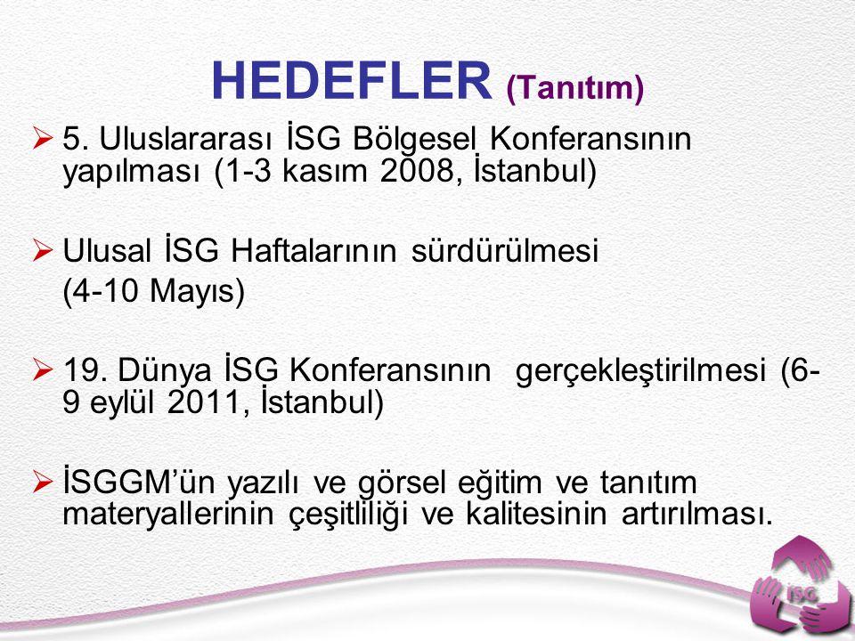 HEDEFLER (Tanıtım)  5. Uluslararası İSG Bölgesel Konferansının yapılması (1-3 kasım 2008, İstanbul)  Ulusal İSG Haftalarının sürdürülmesi (4-10 Mayı