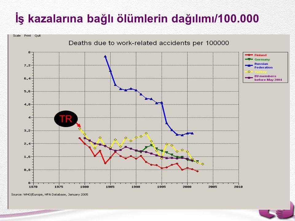 İş kazalarına bağlı ölümlerin dağılımı/100.000 TR