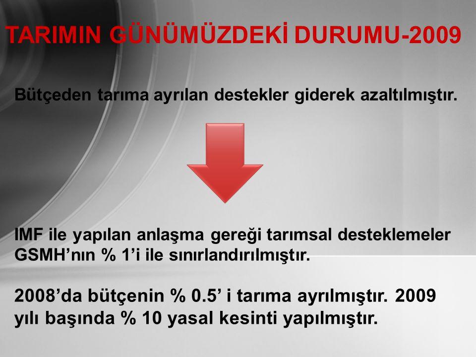 TARIMIN GÜNÜMÜZDEKİ DURUMU-2009 Bütçeden tarıma ayrılan destekler giderek azaltılmıştır.