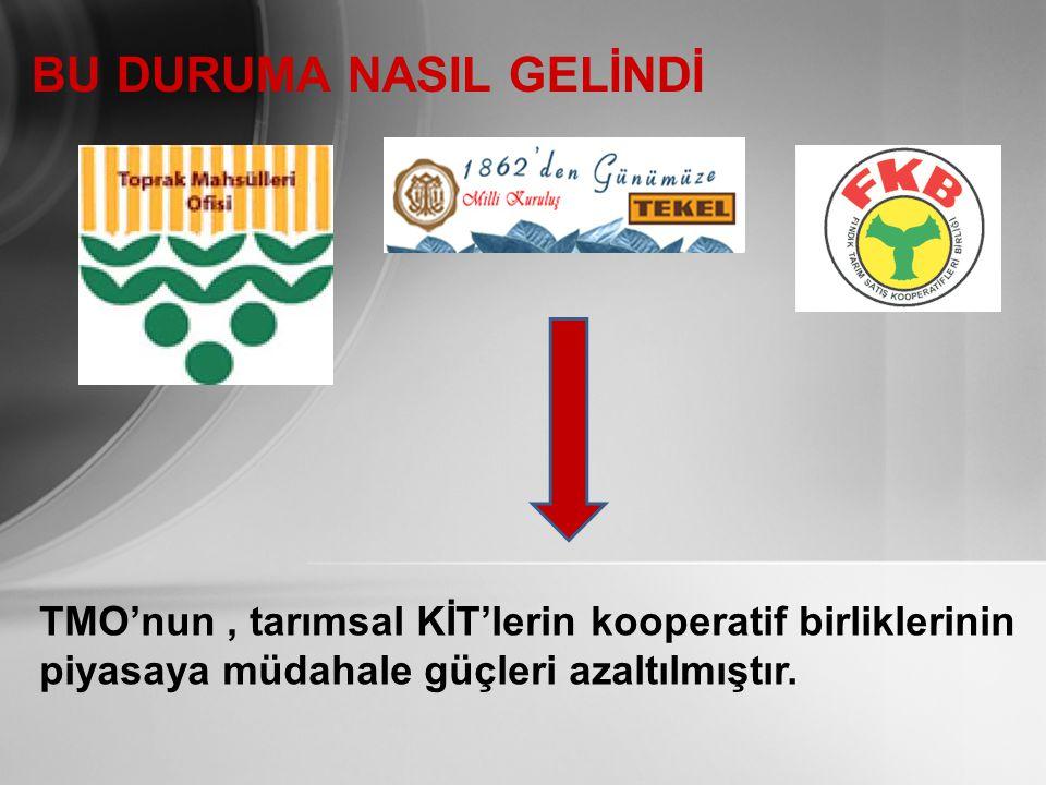 BU DURUMA NASIL GELİNDİ TMO'nun, tarımsal KİT'lerin kooperatif birliklerinin piyasaya müdahale güçleri azaltılmıştır.