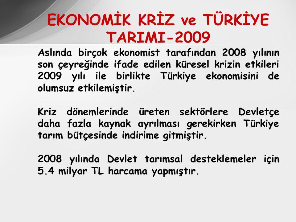 EKONOMİK KRİZ ve TÜRKİYE TARIMI-2009 Aslında birçok ekonomist tarafından 2008 yılının son çeyreğinde ifade edilen küresel krizin etkileri 2009 yılı ile birlikte Türkiye ekonomisini de olumsuz etkilemiştir.