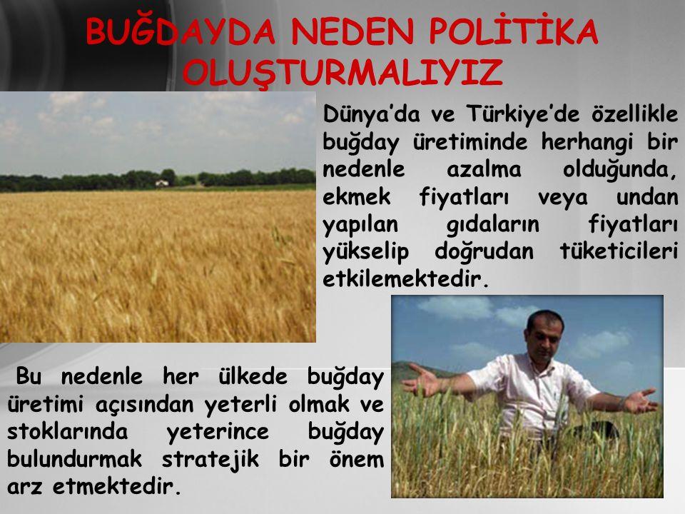 BUĞDAYDA NEDEN POLİTİKA OLUŞTURMALIYIZ Dünya'da ve Türkiye'de özellikle buğday üretiminde herhangi bir nedenle azalma olduğunda, ekmek fiyatları veya undan yapılan gıdaların fiyatları yükselip doğrudan tüketicileri etkilemektedir.