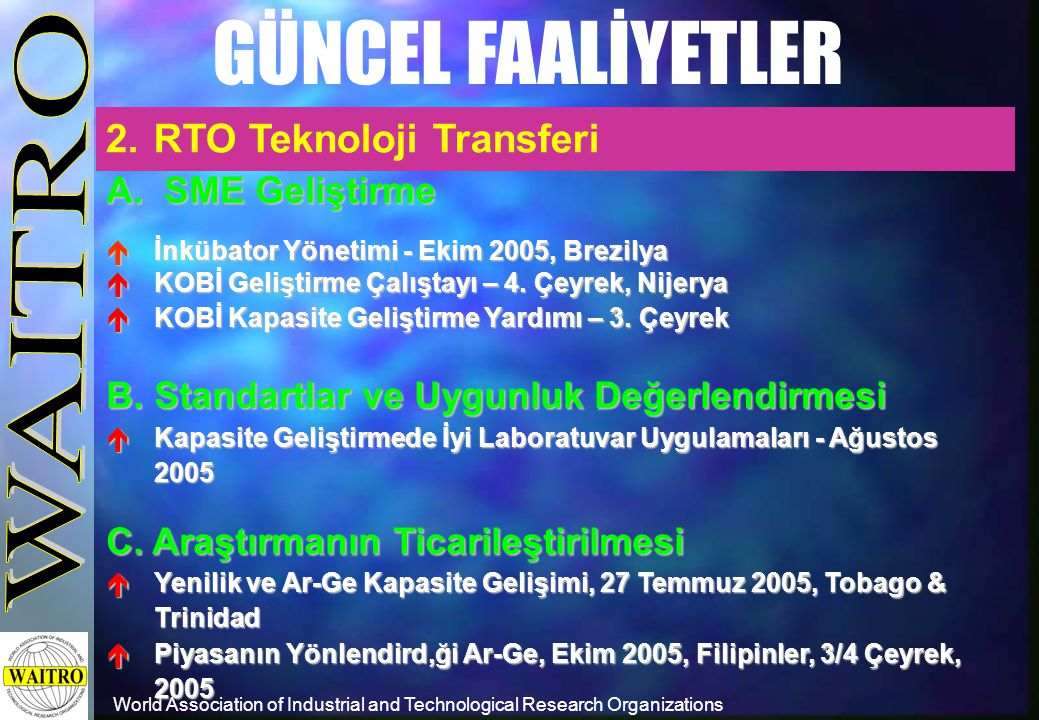 World Association of Industrial and Technological Research Organizations GÜNCEL FAALİYETLER 2.RTO Teknoloji Transferi A.