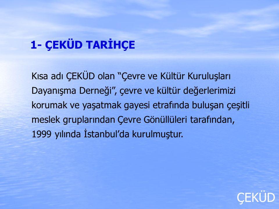ÇEKÜD Her şey insan için diyerek yola çıkan ÇEKÜD, Türkiye'nin birçok yerinde faaliyet gösteren sivil toplum ve kamu kuruluşlarıyla dayanışma halinde; Doğal, kültürel ve sosyal çevrenin korunması, güzelleştirilmesi ve geleceğe güvenle aktarılması; Temiz ve yaşanabilir bir çevre idealini benimsemiş, kritik ve analitik düşünce yapısında, kültürel değerlerimize bağlı, yüksek ahlak ve çevre bilincine sahip insanlardan meydana gelen bir toplumun oluşması; Doğal afetler ve kazalar neticesinde bozulan sosyal ve ekolojik dengenin yeniden tesis edilmesi amaçlarıyla faaliyet yapmaktadır.