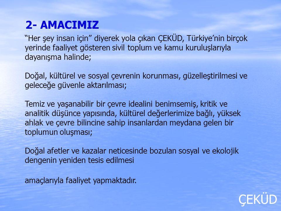 ÇEKÜD Çeküd; başta İstanbul olmak üzere Türkiye'nin birçok yerinde ağaçlandırma projeleri, çevre ve kültür gezileri, konferanslar, paneller ve eğitim programları düzenlemekte; radyo ve televizyon yayınları, internet, gazete ve dergiler aracılığıyla kitlelerle devamlı iletişim halinde olmaya çalışmakta; çevre bilincinin ve ağaç sevgisinin çocuklarımıza zamanında öğretilmesi amacıyla, eğitimcilere ve öğrencilere çevre eğitimleri vermektedir.
