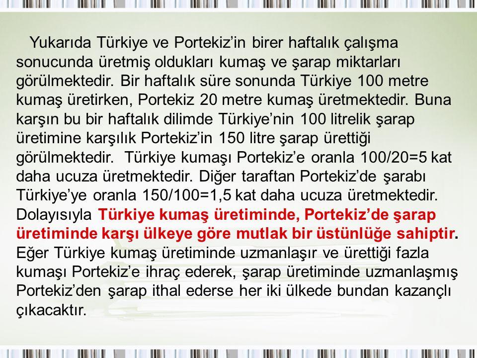 Yukarıda Türkiye ve Portekiz'in birer haftalık çalışma sonucunda üretmiş oldukları kumaş ve şarap miktarları görülmektedir. Bir haftalık süre sonunda