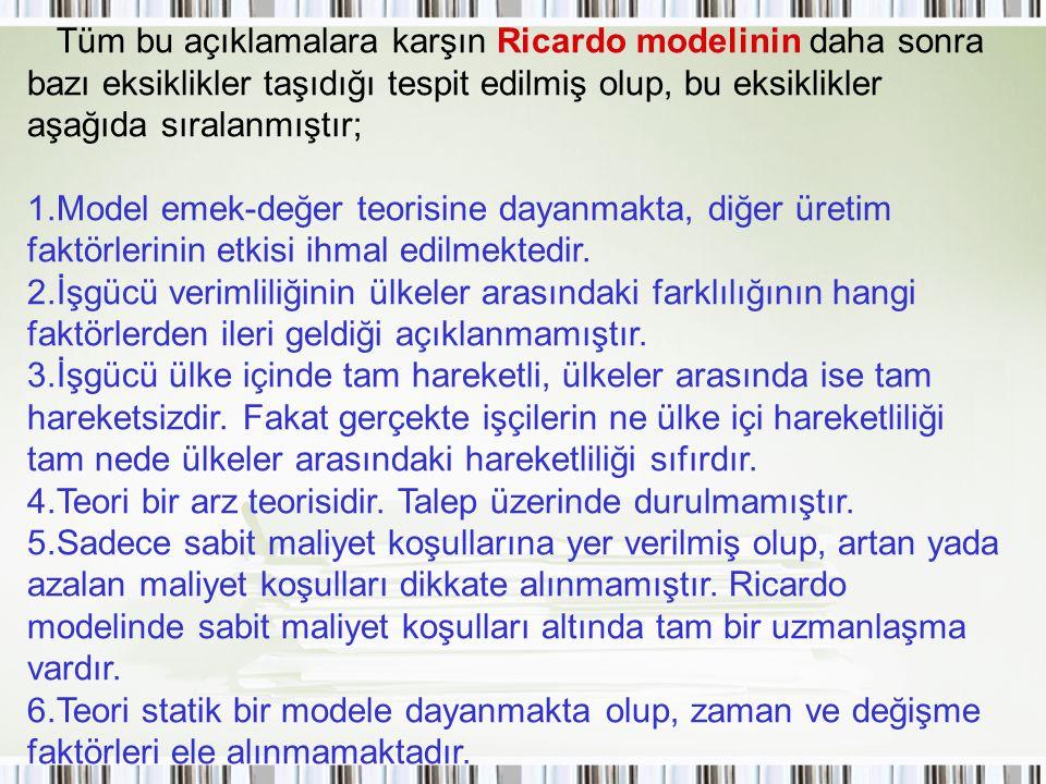 Tüm bu açıklamalara karşın Ricardo modelinin daha sonra bazı eksiklikler taşıdığı tespit edilmiş olup, bu eksiklikler aşağıda sıralanmıştır; 1. Model