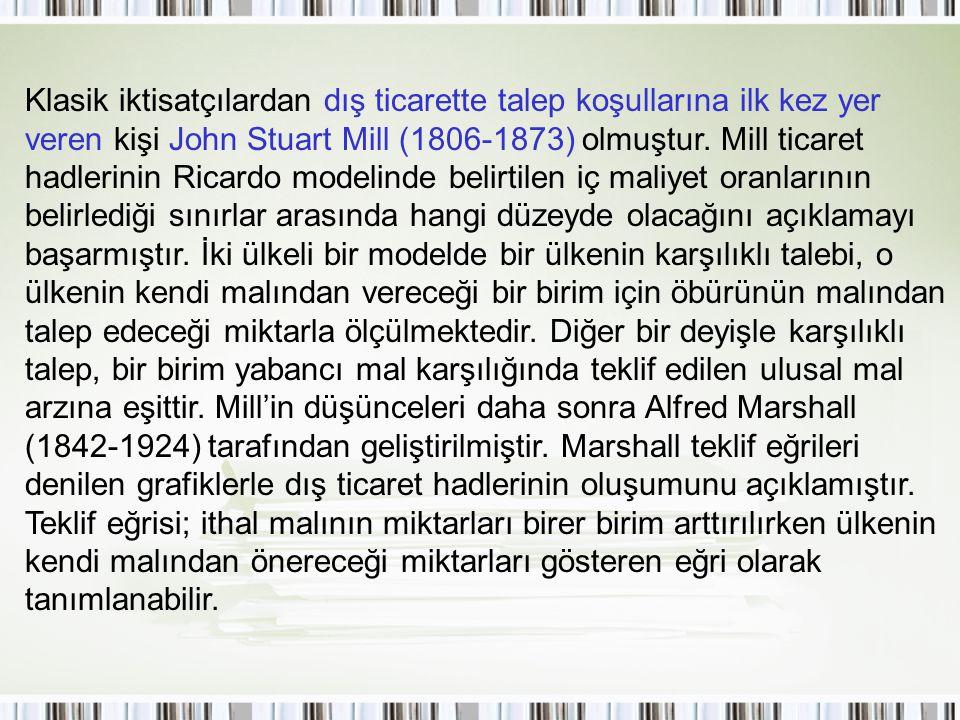 Klasik iktisatçılardan dış ticarette talep koşullarına ilk kez yer veren kişi John Stuart Mill (1806-1873) olmuştur. Mill ticaret hadlerinin Ricardo m