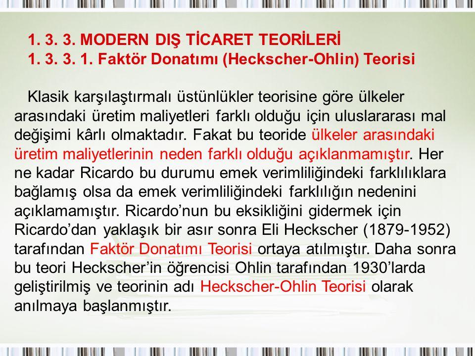 1. 3. 3. MODERN DIŞ TİCARET TEORİLERİ 1. 3. 3. 1. Faktör Donatımı (Heckscher-Ohlin) Teorisi Klasik karşılaştırmalı üstünlükler teorisine göre ülkeler