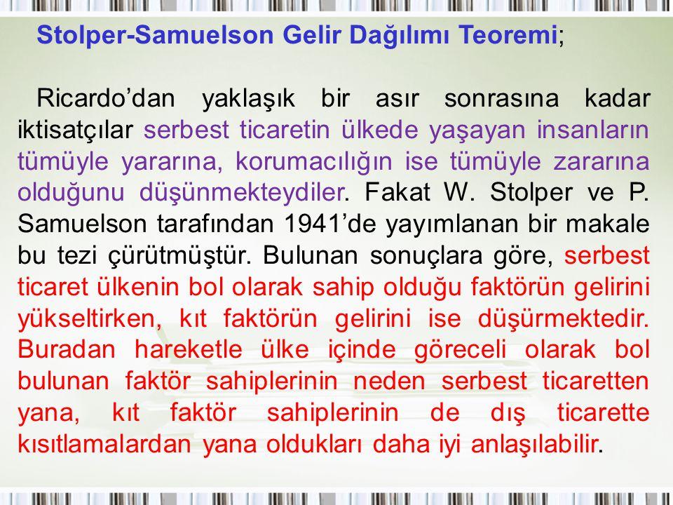 Stolper-Samuelson Gelir Dağılımı Teoremi; Ricardo'dan yaklaşık bir asır sonrasına kadar iktisatçılar serbest ticaretin ülkede yaşayan insanların tümüy