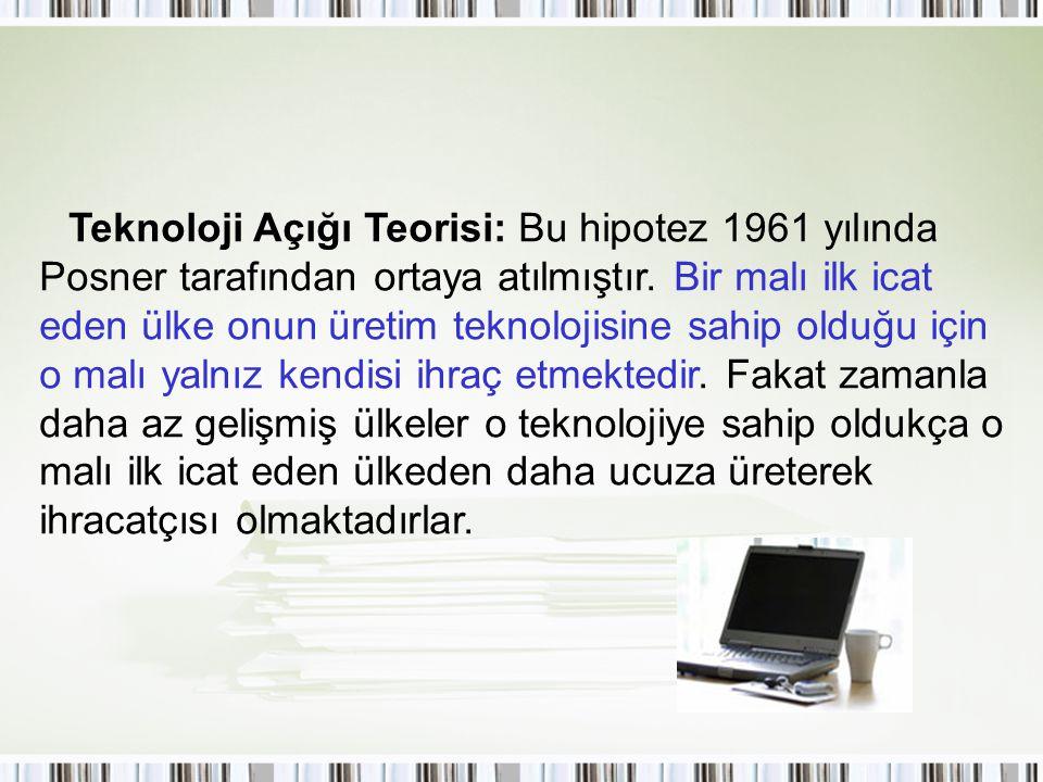 Teknoloji Açığı Teorisi: Bu hipotez 1961 yılında Posner tarafından ortaya atılmıştır. Bir malı ilk icat eden ülke onun üretim teknolojisine sahip oldu