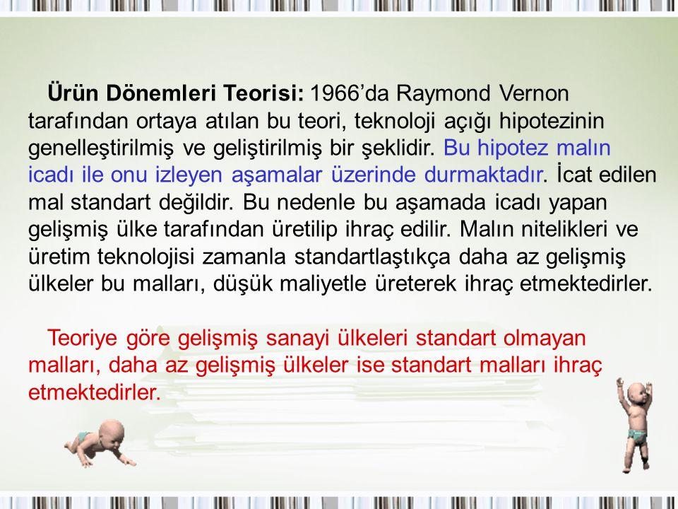 Ürün Dönemleri Teorisi: 1966'da Raymond Vernon tarafından ortaya atılan bu teori, teknoloji açığı hipotezinin genelleştirilmiş ve geliştirilmiş bir şe