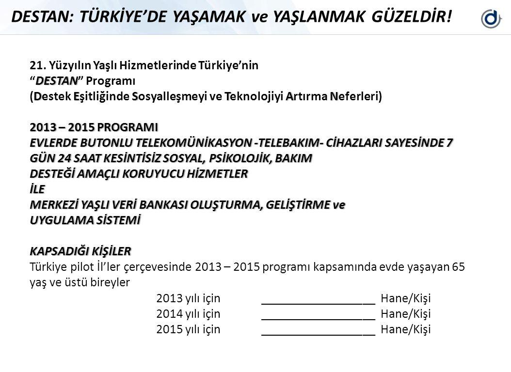 """DESTAN: TÜRKİYE'DE YAŞAMAK ve YAŞLANMAK GÜZELDİR! 21. Yüzyılın Yaşlı Hizmetlerinde Türkiye'nin DESTAN""""DESTAN"""" Programı DESTAN(Destek Eşitliğinde Sosya"""