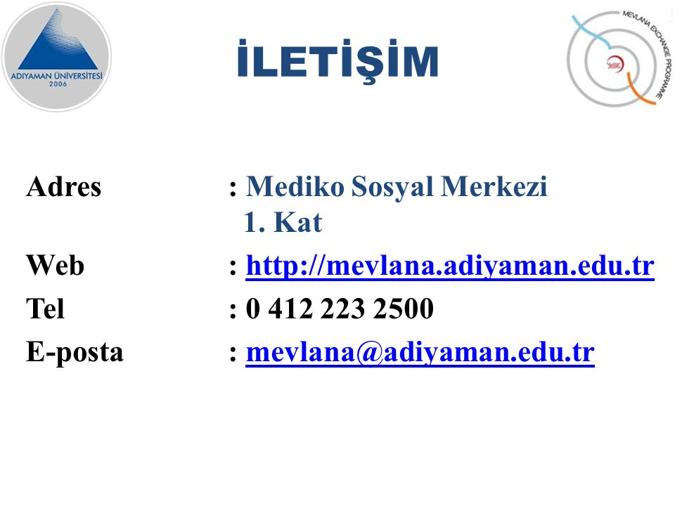 Adres: Mediko Sosyal Merkezi 1.
