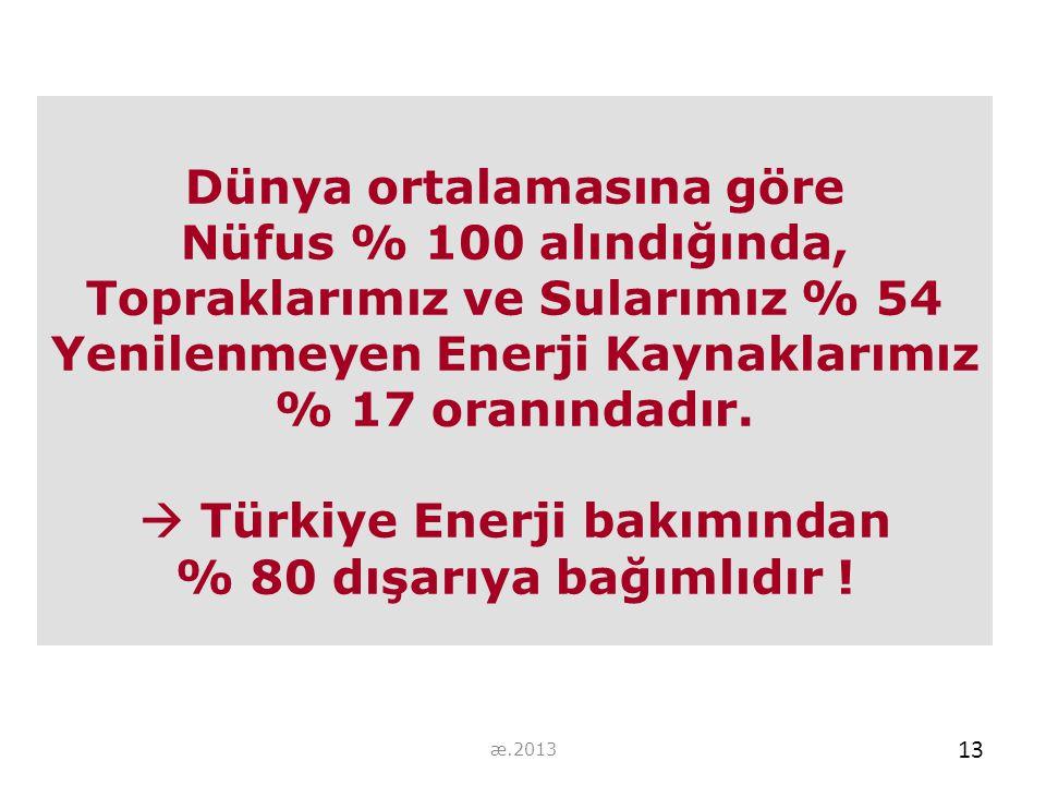 Dünya ortalamasına göre Nüfus % 100 alındığında, Topraklarımız ve Sularımız % 54 Yenilenmeyen Enerji Kaynaklarımız % 17 oranındadır.  Türkiye Enerji